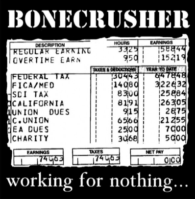 "Bonecrusher ""Working for nothing"" (White vinyl)"